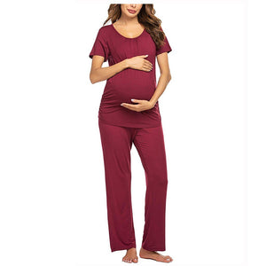 Women's Summer Maternity and Postpartum Short Sleeve Loungewear Top and Bottom Pajamas Set