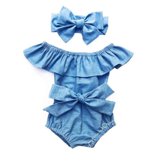SUMMER Baby Blue Girls Romper And Headband Set