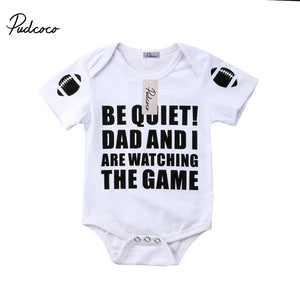 BE QUIET! DAD AND I ARE WATCHING THE GAME Baby Bodysuit
