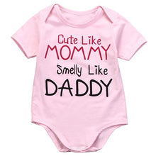 Load image into Gallery viewer, CUTE LIKE MOMMY SMELLY LIKE DADDY Pink Baby Bodysuit