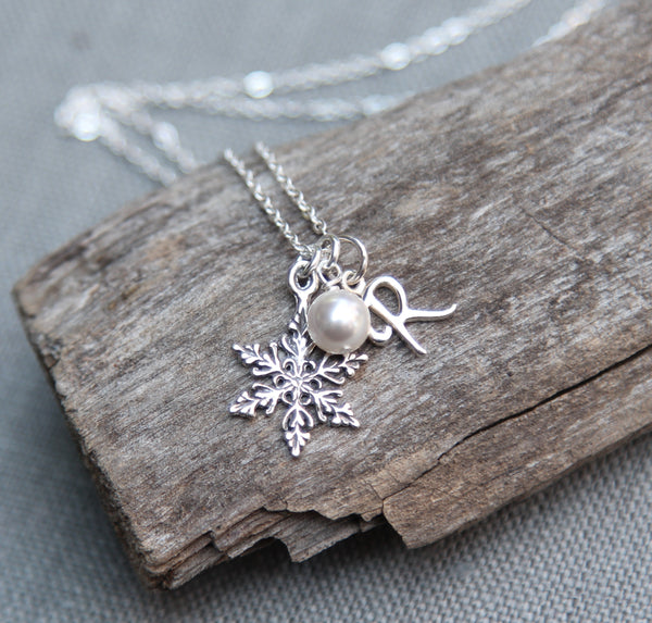 Sterling Silver Snowflake Necklace, Personalized Initial Jewlery