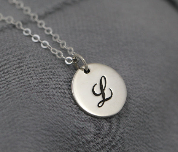 Sterling silver cursive initial necklace