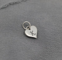 Sterling silver initial on a heart charm