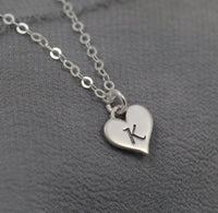 Sterling Heart Initial, personalized charm necklace