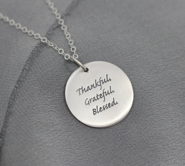thankful grateful blessed pendant, inspirational jewelry