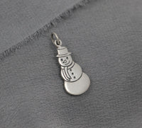Snowman charm, Sterling Silver, Christmas, Holiday