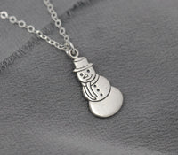 Sterling Silver snowman necklace, holiday pendant