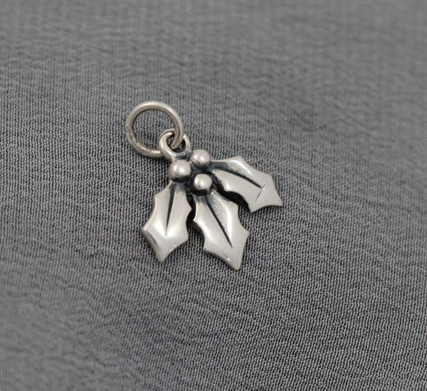 Sterling Silver charm, holly, mistletoe