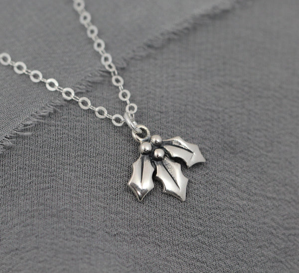Christmas Necklace, Sterling Silver Holly Jewelry