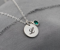 Custom Initial Necklace, Birthstone Jewelry, Personalized Gift for Mom