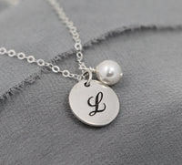 sterling silver bridesmaid necklace with pearl