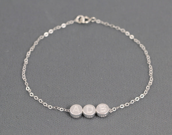 Initial Bracelet Personalized Gift for Mom in Sterling Silver