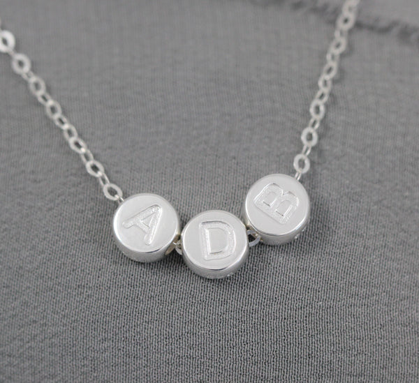 Mom Necklace Personalized with Initials, Sterling Silver Jewelry