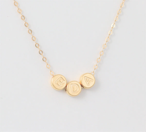 Gold Initial Necklace with Personalized Letters