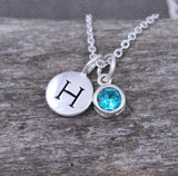 personalized initial jewelry, custom birthstone necklace