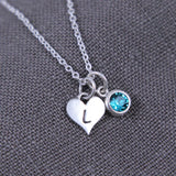 new mom birthstone necklace, Sterling Silver with heart initial