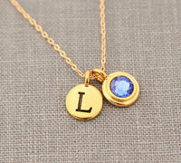 gold new mom necklace personalized with birthstone & initial