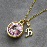 mom necklace in gold personalized with initial & birthstone