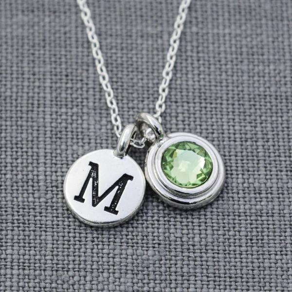 Personalized Birthstone Necklace with Initial for Mom, Mother's Jewelry