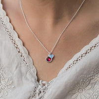 heart shaped custom birthstone & initial necklace on model