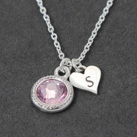 heart necklace, first time mom jewelry personalized with birthstone and initial