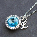 Initial Necklace for Mom, Personalized Birthstone Jewelry