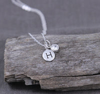Custom birthstone and initial necklace, new mom gift