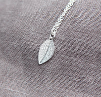 Leaf Necklace in Sterling Silver, Dainty, Minimal Jewelry