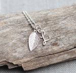 Personalized Necklace with Initial and Leaf