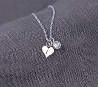 Personalized heart initial necklace with birthstone
