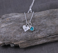 Personalized Gift for Mom, Heart Birthstone & Initial Necklace