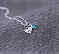 Heart Initial & Birthstone Necklace, New Mom Gift