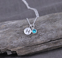 Initial Jewelry with birthstone, necklace in Sterling silver