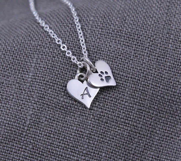 Sterling Silver Dog Mom Jewelry, Paw Print Necklace