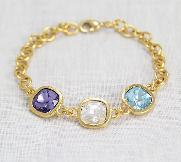 gold personalized birthstone bracelet, grandma jewelry
