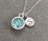 initial jewelry with birthstone, mom necklace