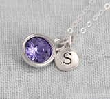 New mom necklace, personalized initial birthstone jewelry