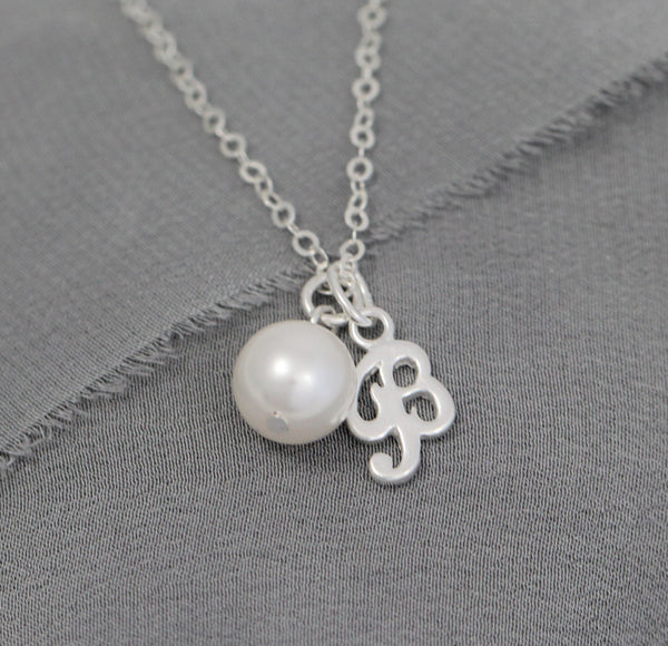 Sterling Silver Initial Necklace with Pearl