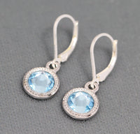 small gift sterling silver birthstone earrings