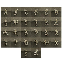 Sterling Silver initial, script letter chart