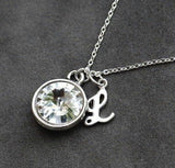 Mother's necklace with birthstone and initial in silver rhodium