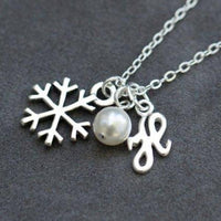 personalized snowflake necklace, sterling silver bridemsaid jewelry