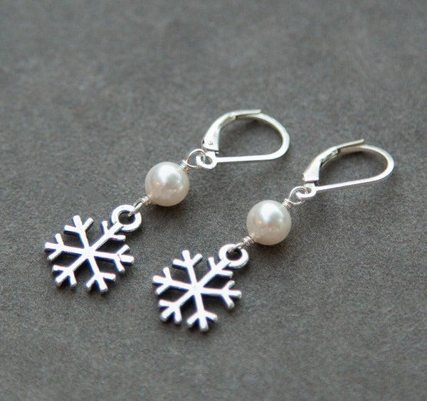 snowflake earrings with pearls