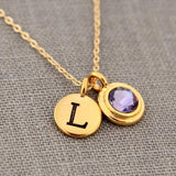 Mother's Necklace in Gold with Birthstone & Initial, Personalized Jewelry Gift