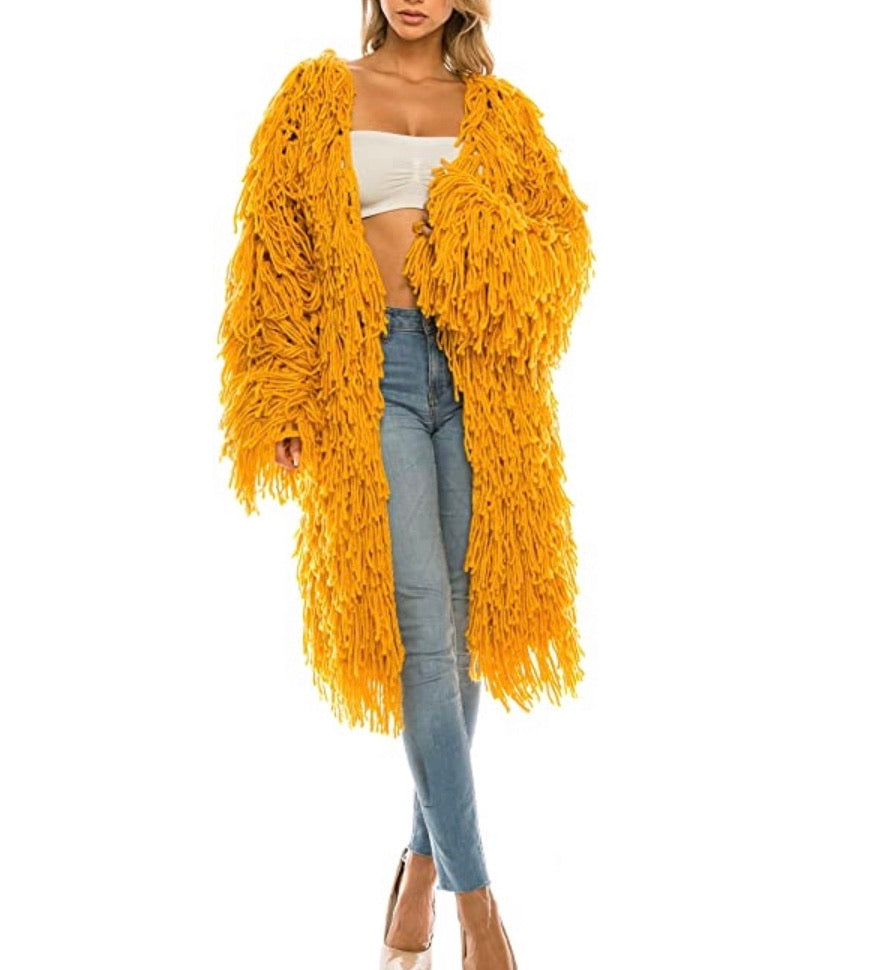 Long Line Fringe Cardigan