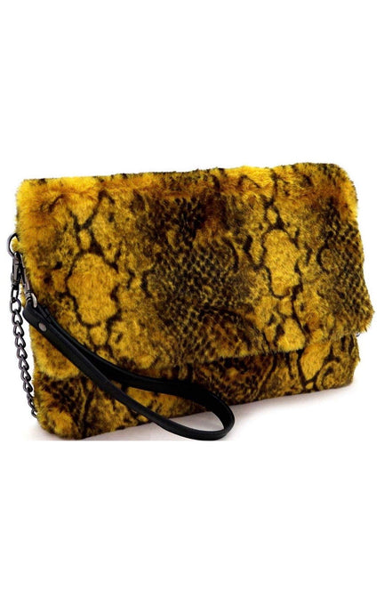 Snake Print Fur Flap Bag