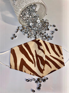 Brown Zebra Fashion Mask