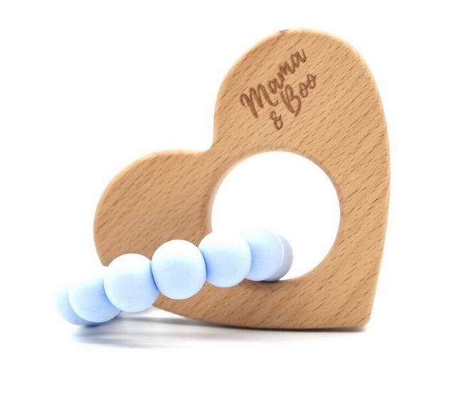 Circle My Heart Teething Toy SOFT BLUE