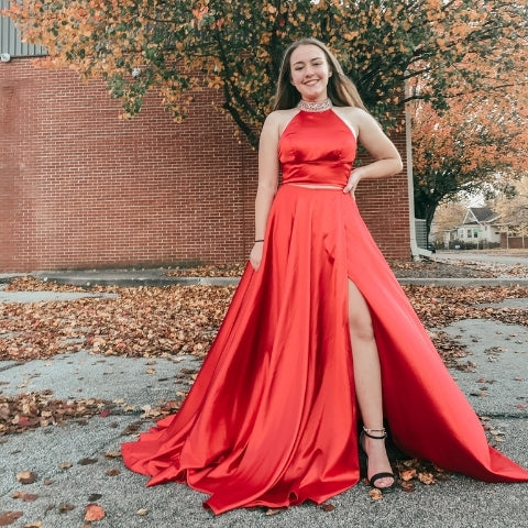 high neck red dress with a slit