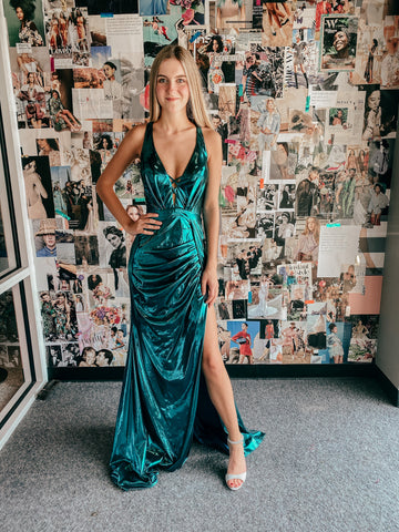 green mermaid inspired prom dress with a slit